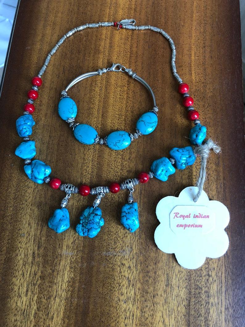 Boho Turquise stone necklace set