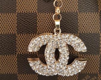 eb967eed17b4 Chanel inspired rhinestone CC logo bag charm/Chanel bag charm/Chanel purse  charm/Chanel charm/Chanel key chain/Chanel keychain/
