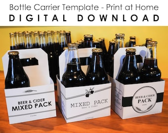 4 Bottle Carrier - Print at Home - PDF, PNG Template