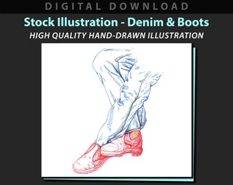Denim & Boots stock illustration