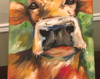 Cow oil painting on 16x20 stretched canvas