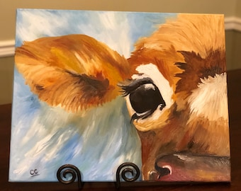 Cow Oil painting on canvas 16x20