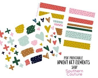 Advent Art Elements Set Bible Journaling Printable Stickers Faith