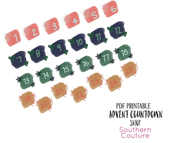 Advent Countdown Bible Journaling Printable Stickers