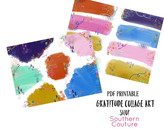 Gratitude Collage Art Bible Journaling Printable Stickers
