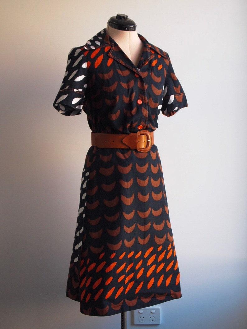 Finnish Design Vintage 1970/'s 2-Piece Set Rare European Vintage Retro Print Career Dress Size AU 10 Made in Finland