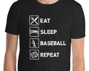 Eat Sleep Baseball Repeat T-shirt - Funny Baseball T-shirt