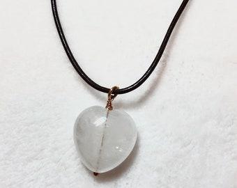 Gemstone Necklace/ Quartz Necklace/ Gemstone Necklace/Leather Necklace/ 925 Sterling Silver