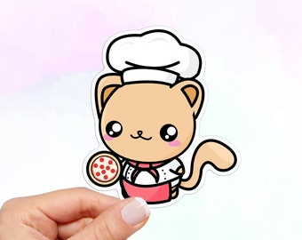 Chef Cat with Pizza Vinyl Sticker, Cat Stickers, water bottle stickers, laptop stickers, vinyl stickers, kawaii stickers, Stickers Laptop