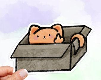 Funny Cat Sticker, Cat in a Box Sticker, Middle Finger, water bottle stickers, laptop stickers, vinyl stickers, Stickers Laptop