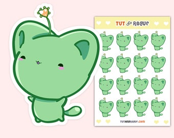 Kawaii Cat Stickers Sheet, Green Bitty Neko
