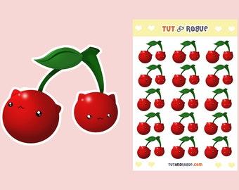 Cherry Sticker Sheet, Cat Stickers, Fruit stickers