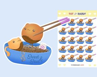 Ramen Noodles Sticker Sheet, Cat stickers, Japanese stickers, Ramen Stickers, Ramen Bowl, Kawaii Stickers, Planner Stickers