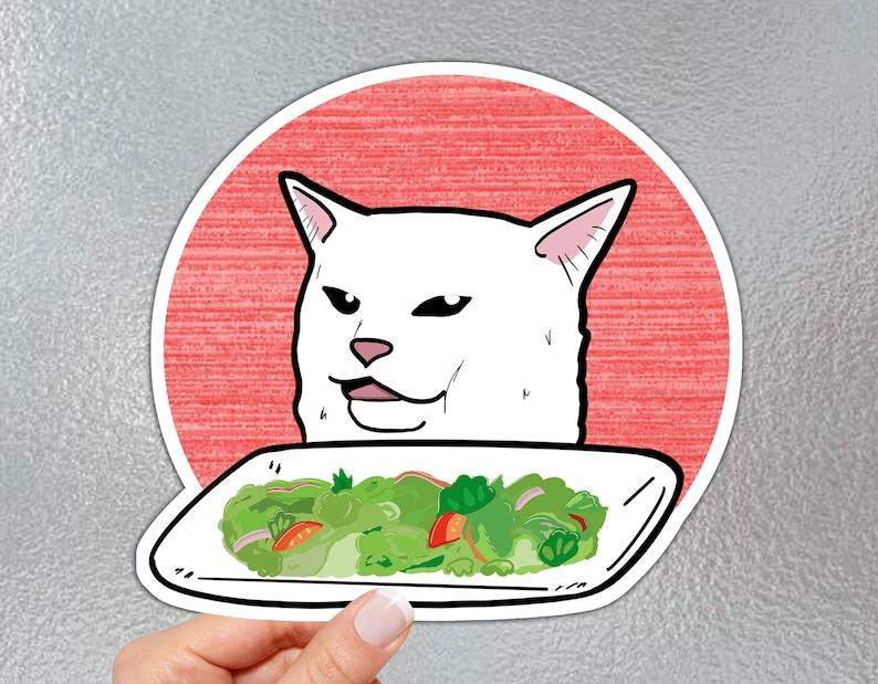 Woman vs Cat Meme Sticker Large image 0