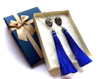 LiePeJewelry indigo blue silk long tassel dangle glass bead lever back earrings