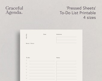 To-Do List Printable, To-Do List Planner, Daily Agenda, Pressed Sheets Series