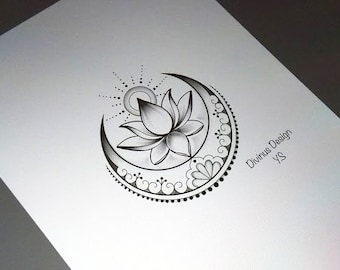 265f6f1b3 Lotus with Sun and Moon tattoo and Stencil - Instant Digital Download