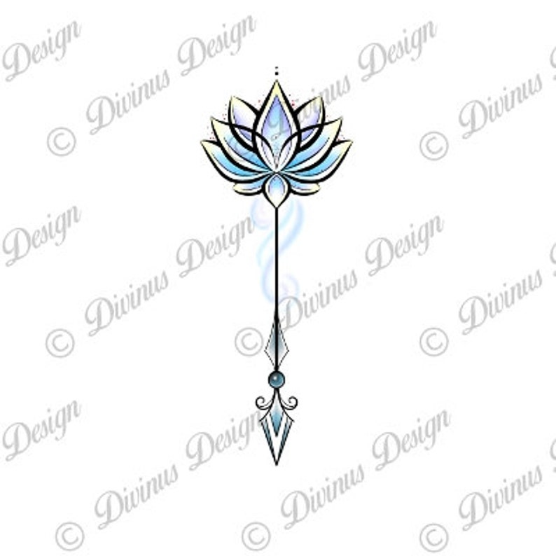 Colorful Lotus Flower Arrow Tattoo And Stencil Instant Etsy