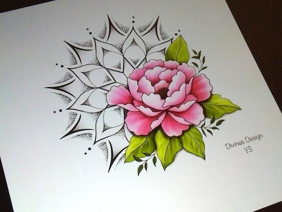 Fleur De Pivoine Et Mandala Soleil Tatouage Avec Un Pochoir Telechargement
