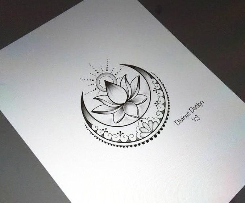 Lotus Mit Sonne Und Mond Tattoo Und Schablone Instant Etsy