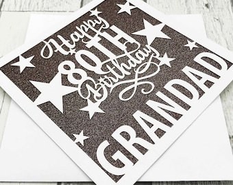 Personalised 80th Birthday Card, 80th Birthday, Happy 80th Birthday, 80th Gift, 80th Mum, 80th Dad, Handmade, Lasercut, XOXO DESIGNS UK