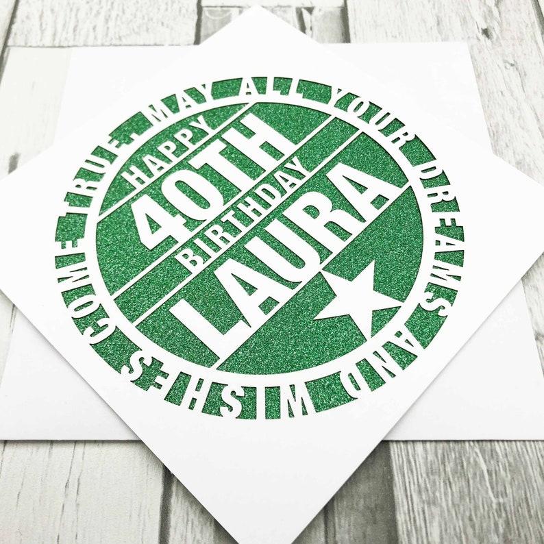 Personalised 40th Birthday Card40th Birthday Card40th Green