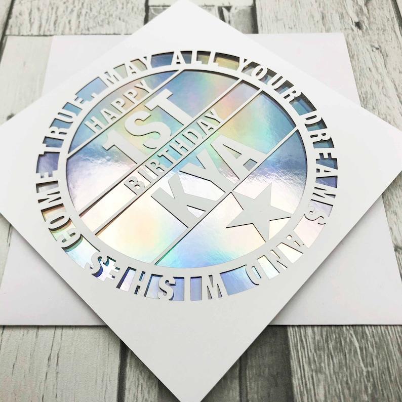 Personalised 1st Birthday Card1st Birthday Card1st Rainbow Holo