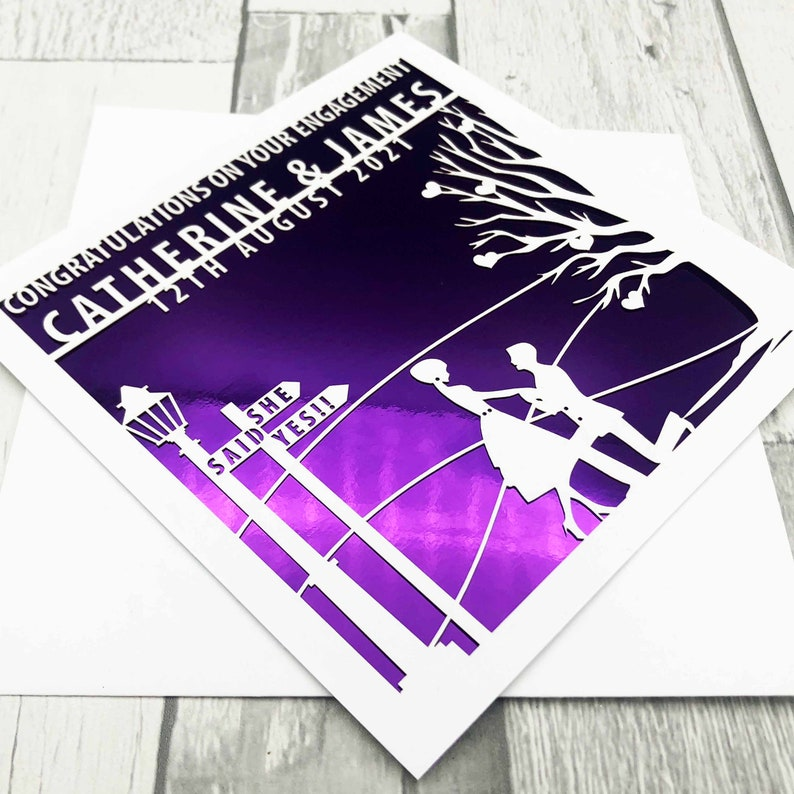 Personalised Engagement Card On Your Engagement Day Happy Purple Mirror