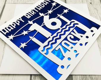 Personalised 16th Birthday Card, Happy 16th Birthday, 16th Birthday, 16th Gift, 16th Daughter, 16th Son, Handmade ,Lasercut, XOXO DESIGNS UK