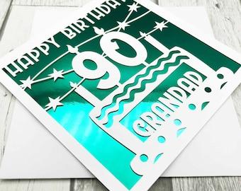 Personalised 90th Birthday Card, Happy 90th Birthday, 90th Birthday, 90th Gift, 90th Mum, 90th Dad, Handmade, Lasercut, XOXO DESIGNS UK