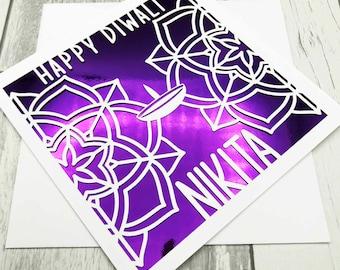 Personalised Diwali Card, Mandala Card, Diva Diwali Card, Diwali Celebration Card, Happy Diwali Card, Handmade,Lasercut Card,XOXO DESIGNS UK