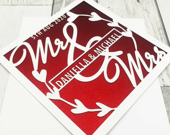 Personalised Wedding Card,Wedding Cards,Wedding Day Cards,Bride & Groom Cards,Mr And Mrs Cards,Handmade Cards,Lasercut Cards,XOXO DESIGNS UK