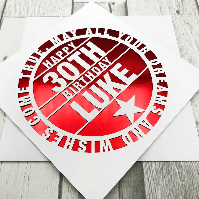 Personalised 30th Birthday Card Happy 30th Birthday 30th Red Mirror