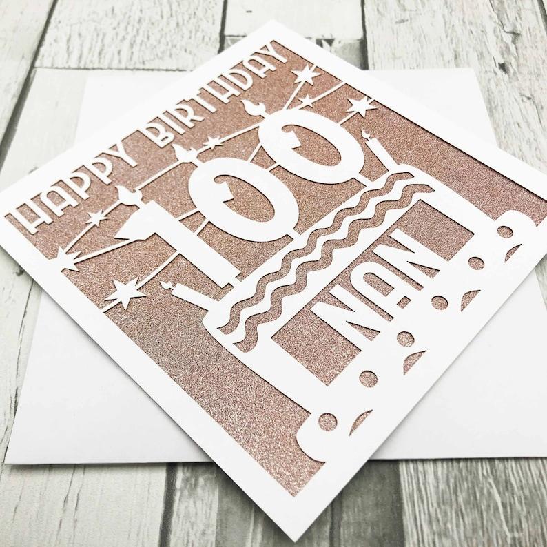 Personalised 100th Birthday Card Happy 100th Birthday 100th image 0