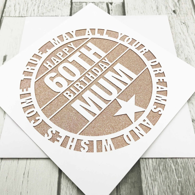 Personalised 60th Birthday Card 60th Birthday Happy 60th Rose Gold