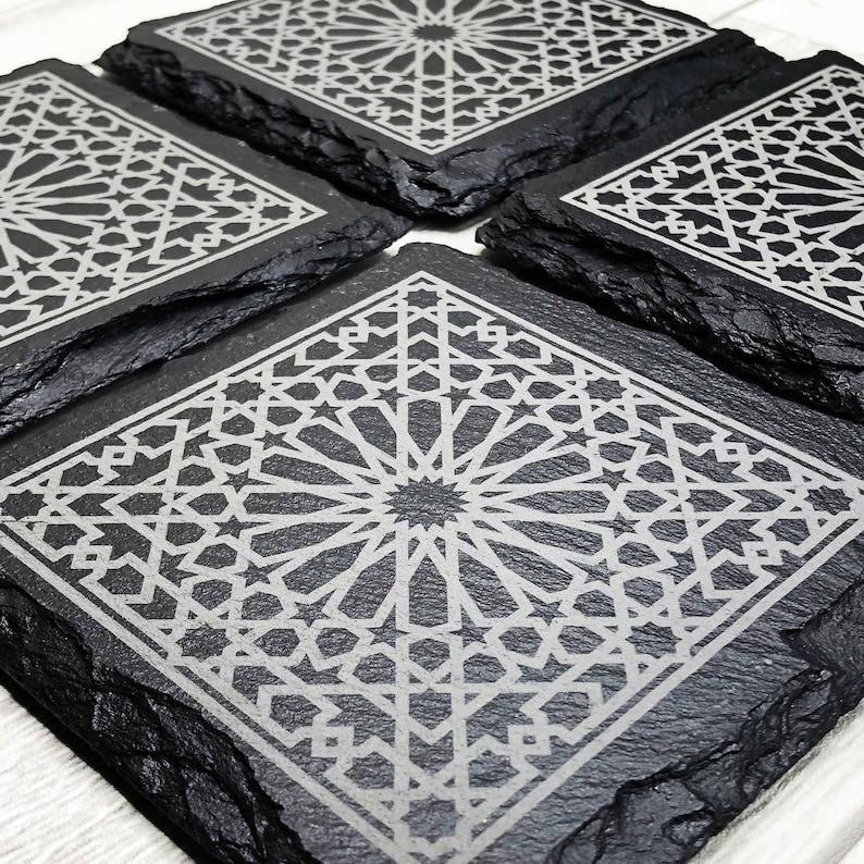 Arabic Pattern Coaster Set  Islamic Coasters Eid Mubarak image 0