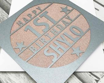 Personalised 1st Birthday Card, 1st Birthday, Happy 1st Birthday, 1st Gift, 1st Daughter, 1st Son, Handmade, Lasercut, XOXO DESIGNS UK