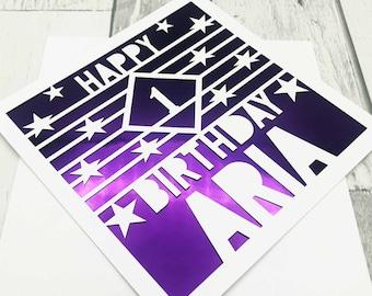 Personalised 1st Birthday Card, Happy 1st Birthday, 1st Gift, 1st Daughter, 1st Son, Handmade Cards, Lasercut, XOXO DESIGNS UK