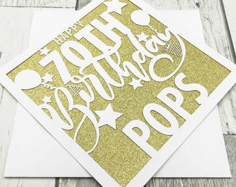 Personalised 70th Birthday Card, 70th Birthday, Age 70 Card, 70th Gift, 70th Mum, 70th Dad, Handmade, Lasercut, XOXO DESIGNS UK