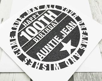Personalised 100th Birthday Card, Happy 100th Birthday, 100th Birthday, 100th Mum, 100th Dad, Handmade, Lasercut, XOXO DESIGNS UK