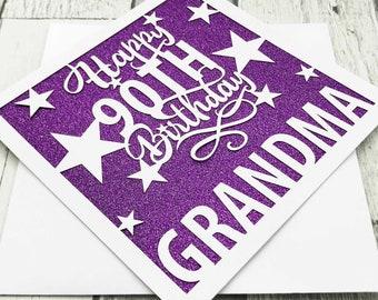 Personalised 90th Birthday Card, 90th Birthday, Happy 90th Birthday, 90th Gift, 90th Mum, 90th Dad, Handmade, Lasercut, XOXO DESIGNS UK