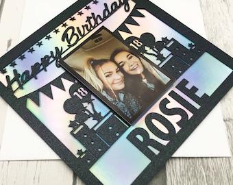 Personalised Birthday Photo Card,Birthday Cards,Happy Birthday Card,Picture Card,Handmade Cards,Lasercut,Age Card,XOXODESIGNSUK