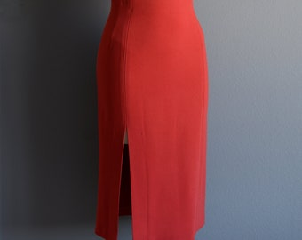 High-waist pencil skirt with a front slit, bright red, sizes US 0 to US 30