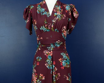 Vintage 1930s style dress in dark red with pink and blue flowers, size US 4