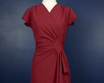 Vintage 40s style wrap dress in dark burgundy red, size S
