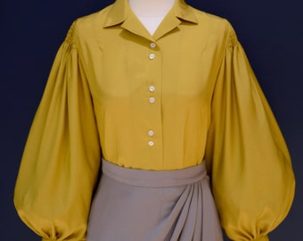 Vintage 30s style button down blouse in mustard cupro rayon with balloon sleeves, sizes US 0 to 30