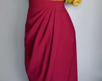 50s style wrap skirt in vermillon red, size US 6