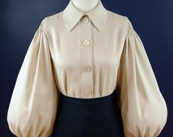 Vintage 30s style button down blouse in light beige rayon sateen, made to order sizes 0-30