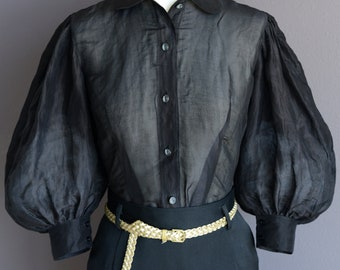 c7470af7 50s vintage style button down blouse in black silk organza with large  balloon sleeves, size US 6
