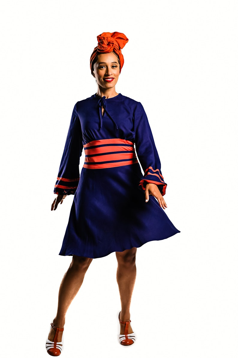 1930s Day Dresses, Afternoon Dresses History Vintage 30s style dress with long sleeves in navy blue and coral size US 4 $196.00 AT vintagedancer.com